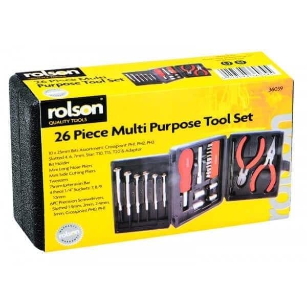 Rolson 36039 26pc Mini Tri Fold Tool Kit