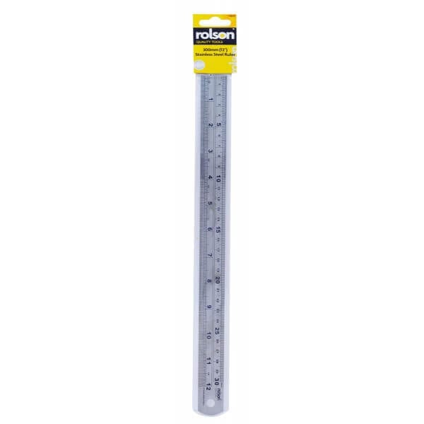 Rolson 50824 300mm Stainless Steel Ruler