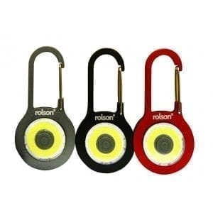 Torch Camping Biking Winter KEYRINGS ROLSON 0.5W COB LIGHT WITH CARABINER